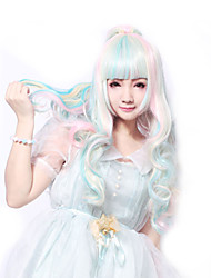 68 Cm Harajuku Lolita Perruque Full Curly Wig Anime Rainbow Ombre Cosplay Wigs Long Synthetic Wig 2 Clips 0.6kg
