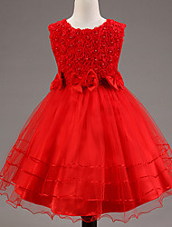 A-Line Knee Length Flower Girl Dress - Polyester Lace Satin Tulle Sequined Sleeveless Jewel Neck with Flower