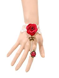 vintage røde roser bowknot armbånd med ring klassisk feminin stil