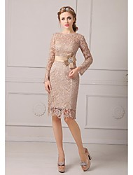 cheap -Sheath / Column Jewel Neck Knee Length Lace Mother of the Bride Dress with Lace Sash / Ribbon by LAN TING BRIDE®