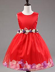 Vestito Girl Fantasia floreale Misto cotone Estate Rosa / Viola / Rosso