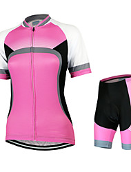 Arsuxeo Cycling Jersey with Shorts Women's Short Sleeves Bike Clothing Suits Quick Dry Anatomic Design Breathable YKK Zipper Back Pocket