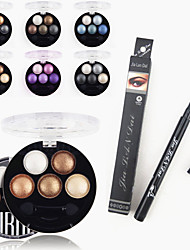abordables -Fards à Paupières Accessoires de Maquillage Voyage Economique Professionnel 1PCS Professional Waterproof Liquid Eyeliner Pen+1PCS Bright Stereo 5 Color UBUB Roast Eye Shadow Powder Metallic Shimmer(6