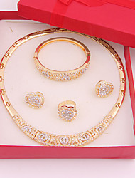 cheap -Women's Jewelry Set - Rhinestone Fashion Include Golden For Wedding / Party / Daily / Rings / Earrings / Necklace / Bracelets & Bangles