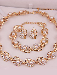 cheap -Women's Pearl Jewelry Set Earrings / Necklace / Bracelets - Fashion Golden Jewelry Set For Wedding / Party / Special Occasion