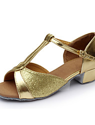 cheap -Women's Latin Shoes Sparkling Glitter / Leatherette / Satin Sandal Indoor Buckle Flat Heel Customizable Dance Shoes Silver / Blue / Gold