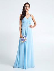 Sheath / Column Spaghetti Straps Floor Length Chiffon Lace Bridesmaid Dress with Lace Criss Cross by LAN TING BRIDE®