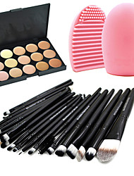 cheap -Pro 20pcs Brushes Set Powder Foundation Eyeshadow Eyeliner Lip Brush Tool+15Colors Concealer+1PCS Brush Cleaning Tool