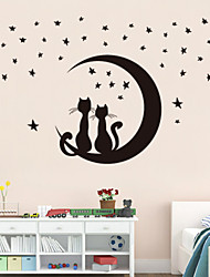cheap -Wall Stickers Wall Decals Style Moon Kitten PVC Wall Stickers