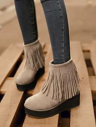 Feminino Sapatos Flanelado Primavera Outono Inverno Plataforma Botas Curtas / Ankle Mocassim Para Casual Social Preto Bege Vermelho