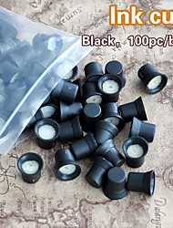 cheap -100pcs/Bag Permanent Makeup Ink Cups With Sponge Ink Caps Holder Ink Rings