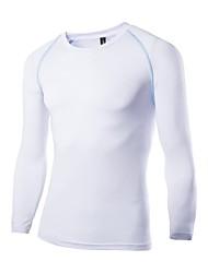 Masculino Camiseta Seda Cor Solida Manga Comprida Casual / Esporte-Preto / Branco