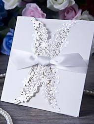 baratos -Tri-Dobrado Convites de casamento Cartões de convite Papel de Cartão Fitas