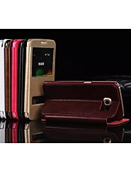 cheap -Case For Samsung Galaxy Samsung Galaxy Case with Stand / with Windows Full Body Cases Solid Colored PU Leather for S7 edge / S7 / S6 edge