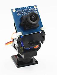 baratos -2 eixos câmera fpv berço cabeça + set câmera ov7670 para robô / r / c carro - preto + azul