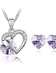 cheap -Women's Crystal Austria Crystal Jewelry Set Include Earrings Necklace - Cute Party Love Fashion Gemstone & Crystal Austria Crystal Alloy