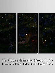 Недорогие -Животное / Пейзаж Холст для печати 3 панели Готовы повесить , Вертикальная