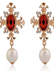 Drop Earrings Pearl Imitation Pearl Cubic Zirconia Alloy Fashion Screen Color Jewelry 2pcs