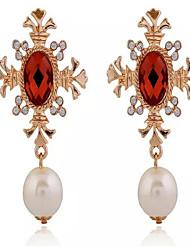 Pendientes colgantes Perla Perla Artificial Zirconia Cúbica Legierung Moda Pantalla de color Joyas 2 piezas