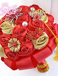 """Недорогие -Свадебные цветы Букеты Свадьба Бусины Полиэстер Satin пена 9,84""""(около 25см)"""