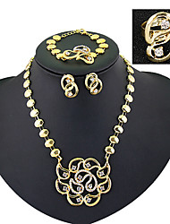 cheap -Jewelry Set Personalized Vintage Party Work Link/Chain Statement Jewelry Fashion European Cubic Zirconia Gold Plated Bracelet Necklace