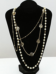 cheap -Women's Crystal Pearl Rhinestone Austria Crystal Pearl Strands Statement Necklace  -  Fashion European Gold Necklace For