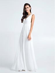 cheap -Sheath / Column V Neck Floor Length Chiffon Bridesmaid Dress with Pleats by LAN TING BRIDE®