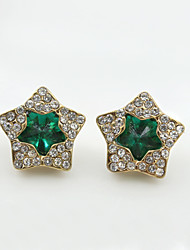 cheap -Stud Earrings Crystal Rhinestone Gold Plated Simulated Diamond 18K gold Fashion Black Green Blue Jewelry 2pcs