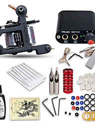 cheap -Tattoo Machine Starter Kit 1 cast iron machine liner & shader Professional High Quality Mini power supply 1 x stainless steel grip 10 pcs
