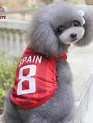 ネコ 犬 Tシャツ ジャージー 犬用ウェア コスプレ 結婚式 文字&番号 レッド コスチューム ペット用
