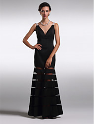 cheap -Sheath / Column V-neck Ankle Length Satin Prom Formal Evening Black Tie Gala Dress with Beading by TS Couture®