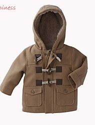 cheap -Boys' Solid Jacket & Coat,Polyester Winter Spring Fall Long Sleeve Gray Brown Red Blue
