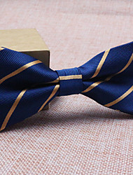 Men's Polyester Bow Tie,Vintage Party Work Casual Striped All Seasons Navy Blue
