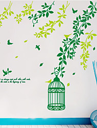 Wall Stickers Wall Decals Style Green Bird Cage PVC Wall Stickers