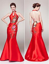 vestito da sera convenzionale del raso del treno della corte del treno della sirena / tromba della sirena con il modello / stampa