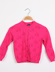 cheap -Girls' Sweater & Cardigan Spring Fall Long Sleeves White Yellow Fuchsia Blue Pink