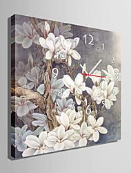 современный стиль серого цветочные часы стены в холст