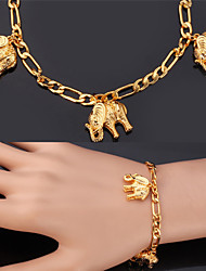 cheap -U7® Figaro Chains Elephants Charms Bracelets 18K Real Gold Plated Fashion Jewelry Bangle For Women Men Christmas Gifts