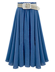 cheap -Women's Street chic Cotton Swing Skirts - Solid Colored Pleated