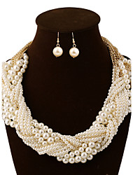 cheap -Women's Pearl Jewelry Set Earrings Necklace - Vintage Party Casual Multi Layer For Party