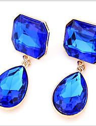 cheap -Women's Drop Cubic Zirconia Stud Earrings Drop Earrings - Fashion Purple Screen Color Dark Green Geometric Earrings For