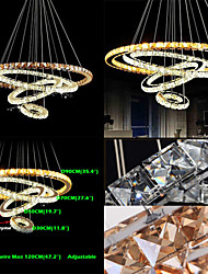 Modern LED Crystal Pendant Lights Ceiling Chandeliers Lamp with 4 Rings Large Ring Amber Crystal and Other Clear Crystal