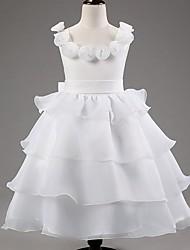 Недорогие -Принцесса лодыжки длина цветок девушка платье - сатин тюль без рукавов совок обруча с цветком