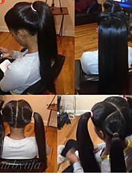Недорогие -Натуральные волосы Бесклеевая сплошная кружевная основа Полностью ленточные Парик Бразильские волосы Прямой Парик 120% Плотность волос / Природные волосы / 100% ручная работа / с детскими волосами