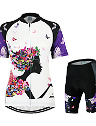 cheap -Arsuxeo Women's Short Sleeves Cycling Jersey with Shorts - White/Black Floral / Botanical Bike Clothing Suits, 3D Pad, Quick Dry,