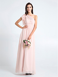 Sheath / Column One Shoulder Floor Length Chiffon Bridesmaid Dress with Criss Cross by LAN TING BRIDE®