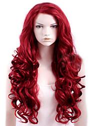 Недорогие -Парики из искусственных волос Кудрявый Красный Боковая часть Красный Искусственные волосы Жен. Высокое качество Красный Парик Длинные Без шапочки-основы