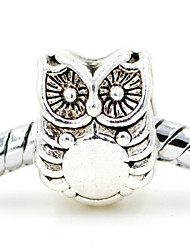 Diy Beads Alloy Simple Owl Animal Shape Large Hole Beads 10Pcs