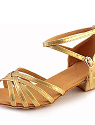 cheap -Children's Dance Shoes Sandals Leatherette Chunky Heel Gold/Silver