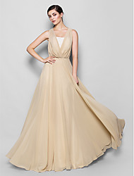 cheap -A-Line V Neck Strapless Floor Length Chiffon Bridesmaid Dress with Lace by LAN TING BRIDE®